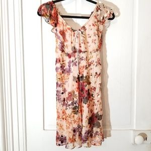 Urban Outfitters Silk Blend Floral Babydoll Dress